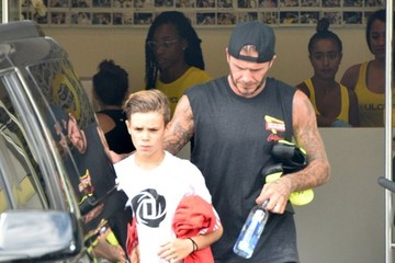 David Beckham Romeo Beckham David Beckham and Son Romeo Hit the Gym