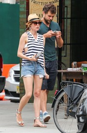 Diane Kruger stepped out in New York City rocking a striped tank top and jean shorts.