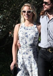 Dianna Agron looked perfectly chic on a sunny day out in Beverly Hills wearing these white-rimmed wayfarers.