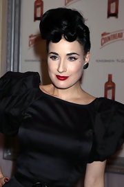 Dita Von Teese showed off an elegant pompadour while launching My Private Cointreau Coffret.