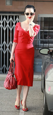 faa3bc6ed25 Dita Von Teese looked retro perfect in this darling red buttoned dress  while out in Hollywood