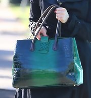 Dita Von Teese toted Analeena's green crocodile handbag in West Hollywood.