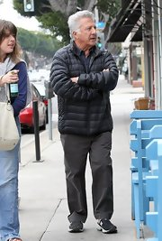 Dustin Hoffman sported this blue puffa for a hip but obviously practical look while taking a walk.
