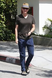 Ellen DeGeneres looked casual and cool in a brown v-neck while out in Beverly Hills.