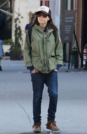 Ever the tomboy, Ellen Page chose this army green utility jacket for her look while out in New York's East Village.