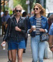 Constance Jablonski headed out in New York City wearing classic aviator sunglasses.