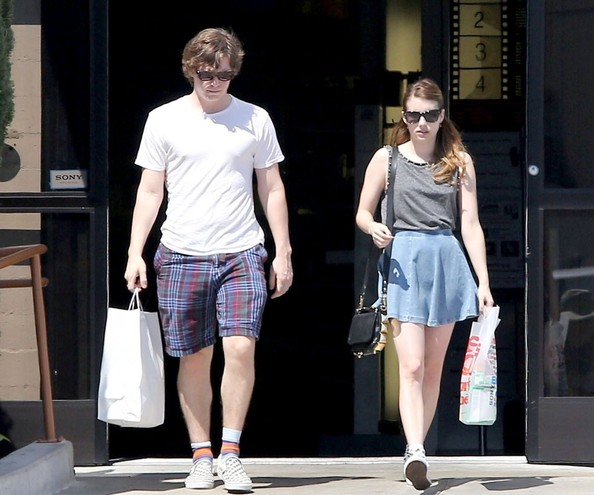 Evan Peters chose a classic white tee for his daytime casual look while out with girlfriend, Emma Roberts.