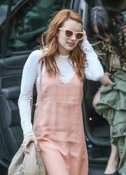 Emma Roberts was retro-chic on the streets of New York City wearing these thick-rimmed cateye sunnies by Quay.