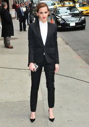 Emma Watson made an appearance on 'Letterman' looking masculine-chic in a black Saint Laurent pantsuit.