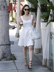 Emmy Rossum oozed sweetness with this bow-waist LWD while out and about in Beverly Hills.