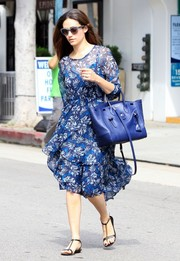 Emmy Rossum stepped out in Beverly Hills wearing a fluttery blue Rebecca Taylor Mystic Garden chiffon dress, which she styled with her favorite Ralph Lauren Ricky bag.