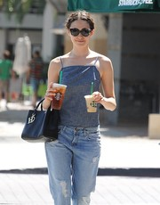 Emmy Rossum accessorized with a chic pair of cateye sunnies for a day out in West Hollywood.