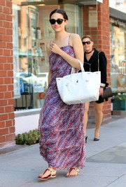 Emmy Rossum headed to a clinic in Beverly Hills looking boho in a micro-print maxi dress.
