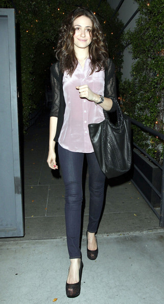 Emmy Rossum Leather Tote []