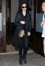 Eva Green stepped out in New York City looking moto-chic in a black leather jacket.