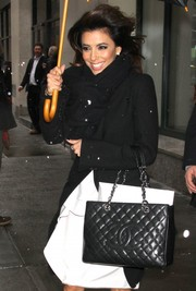 Eva Longoria stepped out in New York City carrying a classic quilted leather tote by Chanel.