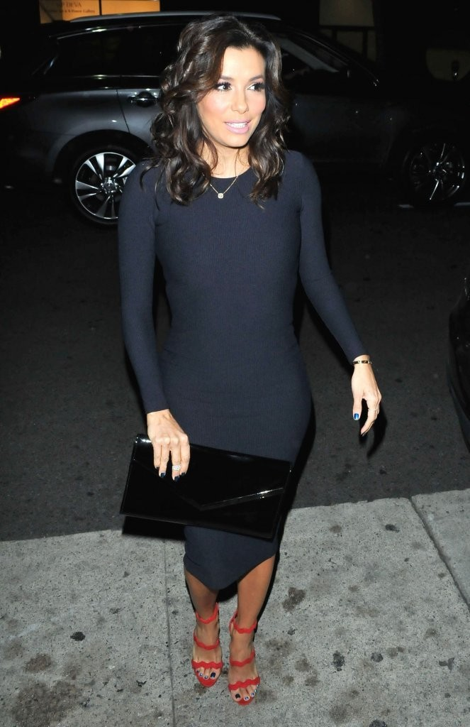 Eva Longoria Sweater Dress Eva Longoria Clothes Looks Stylebistro