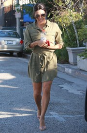Eva Longoria looked effortlessly chic on the streets of Beverly Hills in a belted olive-green shirtdress.