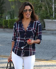 Eva Longoria stepped out in Beverly Hills rocking a pair of mirrored aviators by Victoria Beckham.