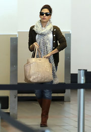 Eva Mendes stylishly made her way through LAX carrying a nude Spring 2011 Logo shopper tote.