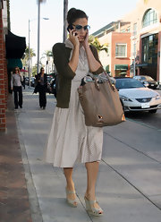 Eva Mendes was able to keep her daily needs in an oversized tan leather tote on a Beverly Hills trip to a doctor's appointment.