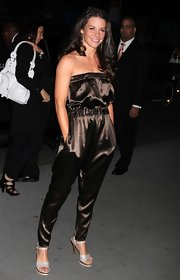 "The actress donned a chocolate brown jumpsuit while attending the premiere of ""Exile On Main Street"" in New York."