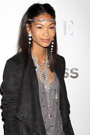 A silver statement necklace dominated Chanel Iman's look.