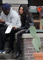 Michelle Rodriguez was spotted on the set of 'The Fast and the Furious 6' wearing killer black Christian Louboutin booties.