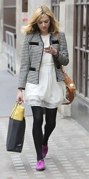 Fearne Cotton  added color to her black-and-white ensemble with purple suede oxfords.