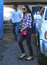 Freida Pinto was poised in purple figure-flattering skinny jeans and a matching top.