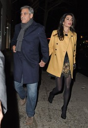 Amal Clooney enjoyed a date night wearing a camel-colored pea coat by Paul & Joe.