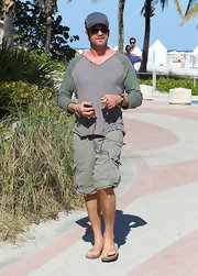 Gerard Butler's over-sized aviator shades kept him safe from the Miami sun.