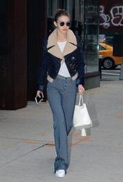 Gigi Hadid was cool girl-chic in a denim jacket by Fay while out and about in New York City.