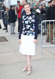 Gillian Jacobs stepped out in New York City wearing an adorable paillette-embellished sweater by Victoria Victoria Beckham.