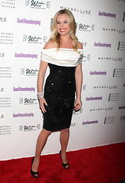 Rebecca sparkled at the Shine On Awards in a black beaded cocktail dress with a white satin off-the-shoulder piece.