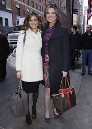 Savannah Guthrie was snapped carrying a personalized monogram Louis Vuitton tote as she made her way to a Super Bowl weekend bash in NYC.