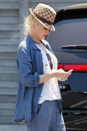 Gwen Stefani looked funky in her patterned straw fedora while out and about in Studio City.