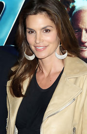Cindy Crawford wore silver hoop earrings to the premiere of 'His Way.'