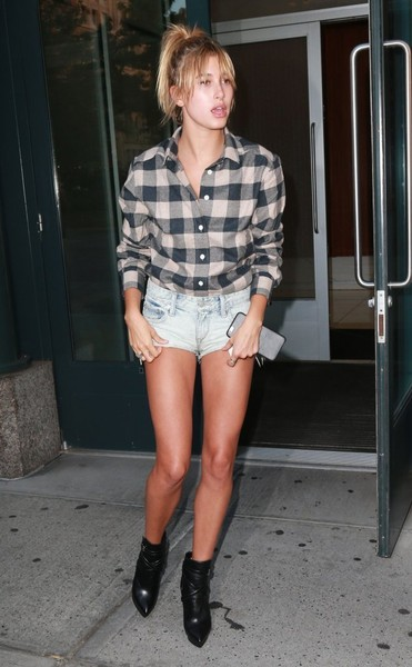 Hailey Bieber Jean Shorts [plaid,clothing,leg,thigh,pattern,fashion,blond,footwear,shorts,design,hailey baldwin,supermodel,fashion,celebrity,model,clothing,leg,thigh,pattern,new york city,hailey rhode bieber,new york,celebrity,model,supermodel,2015,celebmafia,baldwin family,socialite,fashion]