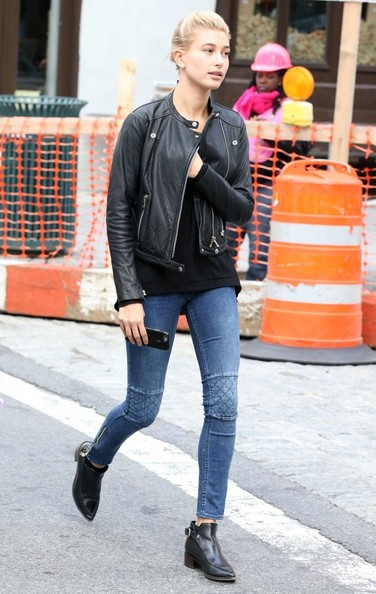 Hailey Bieber Leather Jacket [game,clothing,jeans,street fashion,photograph,denim,jacket,leather jacket,fashion,orange,snapshot,leggings,jeans,leather jacket,hailey baldwin,everyone,denim,news,new york city,basketball game,leather jacket,blazer,jeans,denim,nox tights m,zado leather jacket,street,leggings,shoe,leggings m]