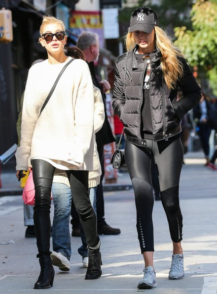 Hailey Bieber Crewneck Sweater [street fashion,clothing,tights,fashion,footwear,snapshot,sunglasses,eyewear,leggings,knee,models,sunglasses,leggings,gigi hadid,friends,hailey baldwin,insider,fashion,new york city,east village,sunglasses,coat,jeans,fashion,outerwear,leggings,shorts,street,tights,shoe]
