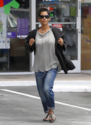 Halle loves soft loose blouses like this casual gray number.