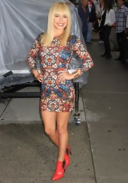 Hayden rocked a stained glass print dress while out in NYC.