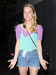 "Heather Morris looked like she belonged in an episode of ""Saved By the Bell"" in high-waist cut off shorts and layered pastel tops."