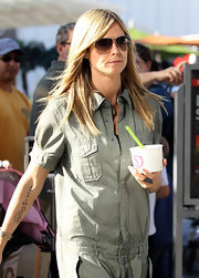 Heidi Klum wore her hair long and straight while out and about in Century City, CA.