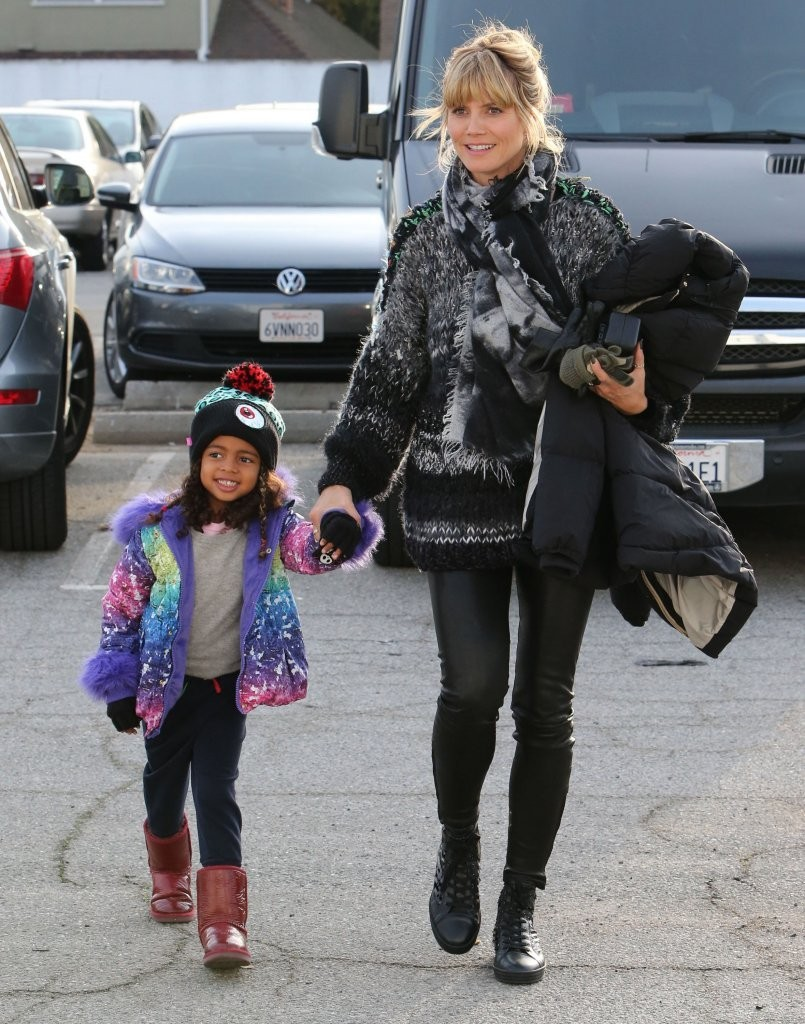 Model Heidi Klum and her boyfriend Martin Kristen take her kids and friend to an ice skating rink in Culver City, California on December 8, 2013.