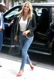 Heidi Klum was spotted out in New York City rocking high-waisted skinny jeans.