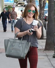 Hilary Duff carried a gray Celine tote on a trip to the salon.