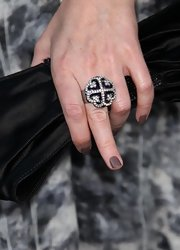 Rebecca Creskoff showed off her four leaf clover cocktail ring.