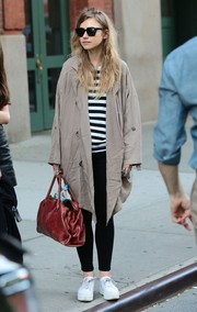 Imogen Poots stayed comfy in a pair of white canvas sneakers for a day out in New York City.